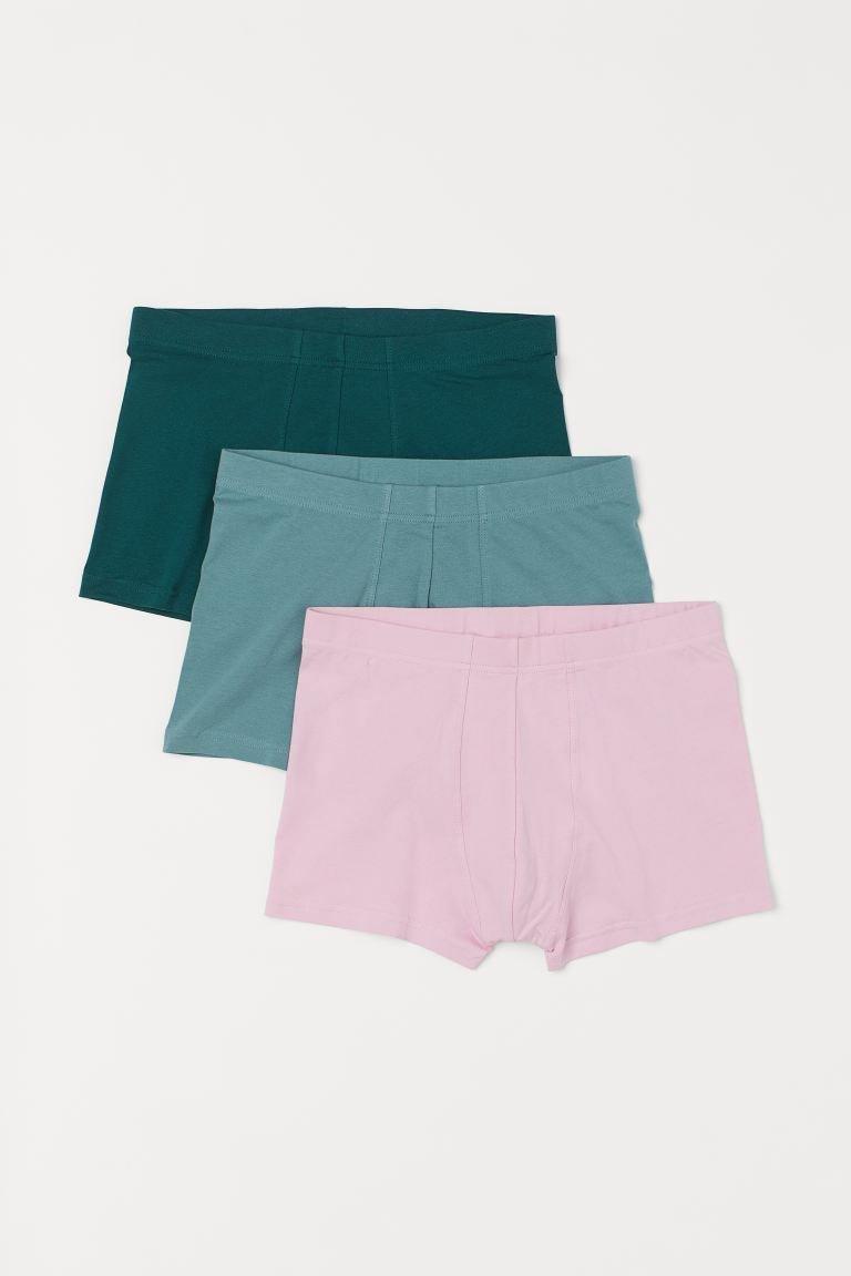 Calzoncillos en punto elástico de algodón con costuras planas, perneras cortas, cintura elástica y refuerzo en la parte delantera.