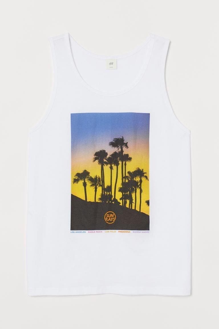 Camiseta sin mangas en punto de algodón con motivo estampado.